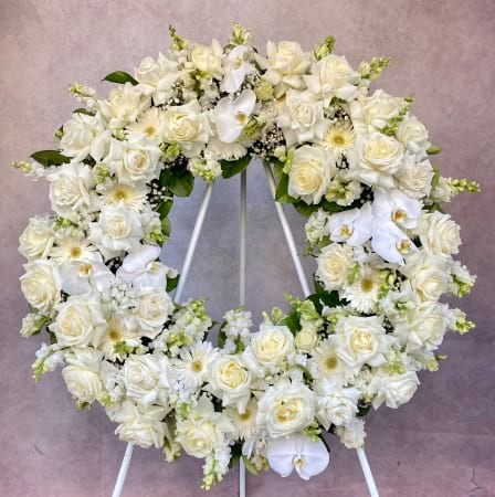 Funeral wreath in white